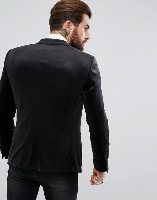 Skinny Blazer In Black Velvet